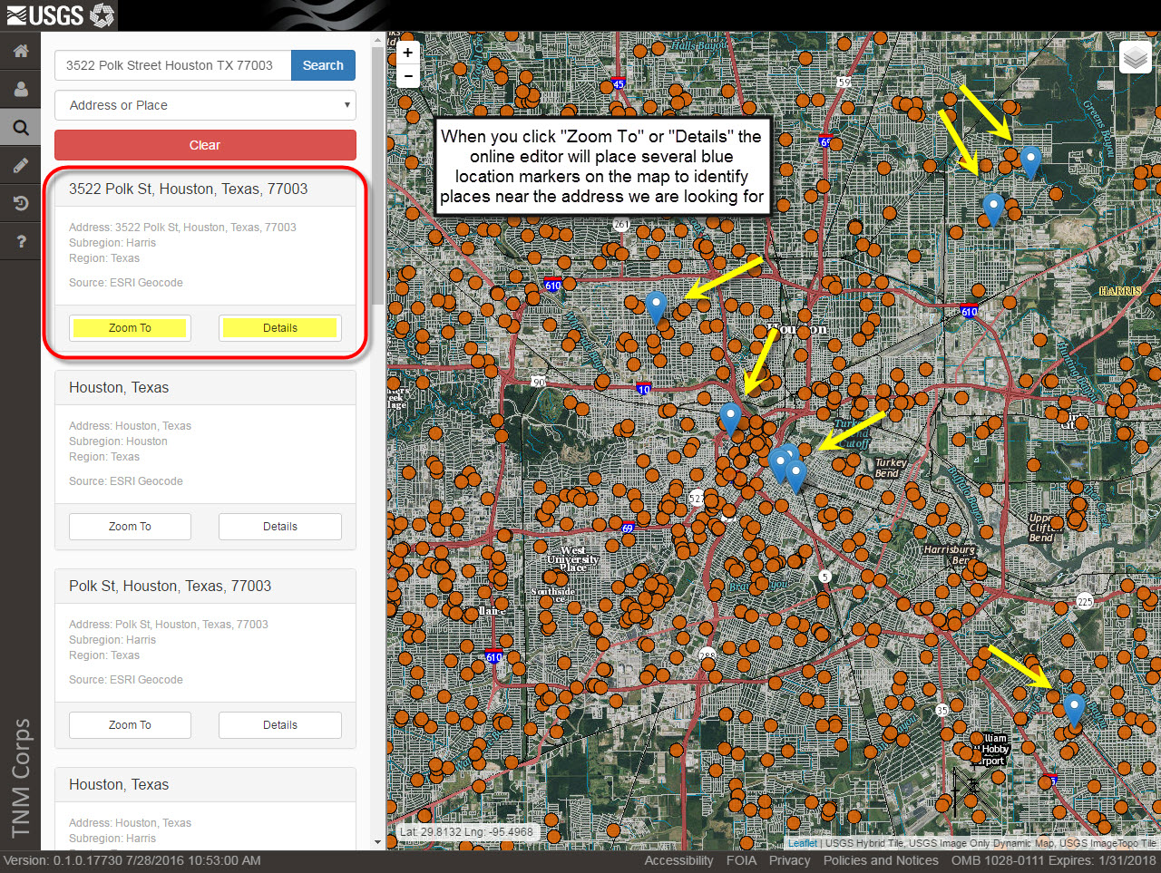 2a_search_for_the_feature_using_the_online_editor Zoomed In Houston Tx Map on houston zip code map, city of conroe tx map, texas interactive radar weather map, houston metro bus map, houston neighborhood map, houston streetcar district map, houston city road map, katy tx map, houston texas map, kingwood texas map, prairie view tx map,